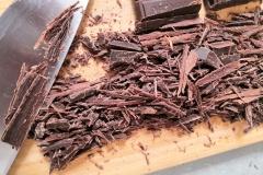 copeaux de chocolat et couteau